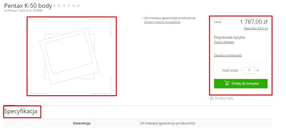 Przykład strony, na której nie ma informacji na temat sprzętu