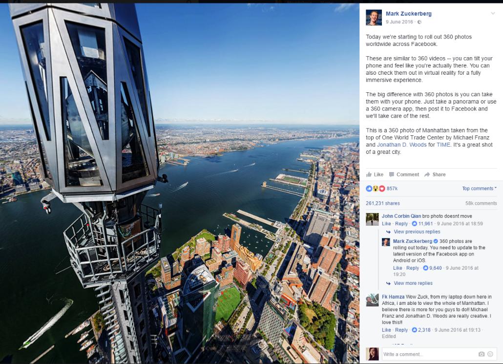 Pierwsze zdjęcie 360 zrobione i udostępnione przez Marka Zuckerberga. Źródło: https://www.facebook.com/photo.php?fbid=10102883012571491&set=a.612287952871.2204760.4&type=3