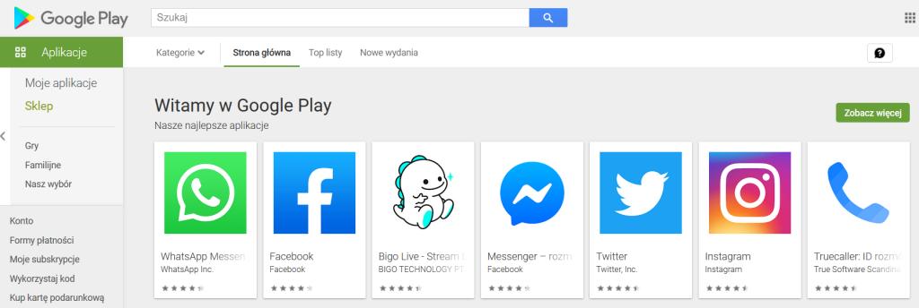 Sklep play - lista aplikacji