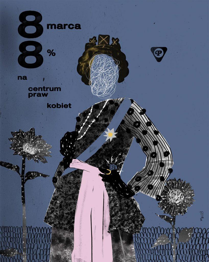 plakat - 8% na centrum praw kobiet